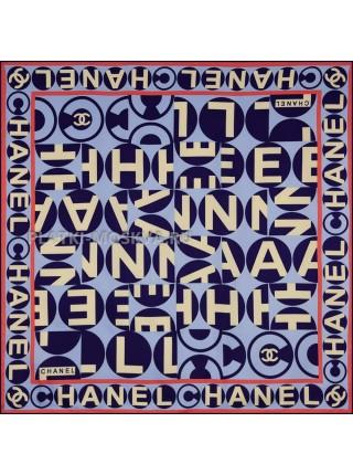 """Платок Chanel шелковый голубой """"Logo"""" 1894-90"""
