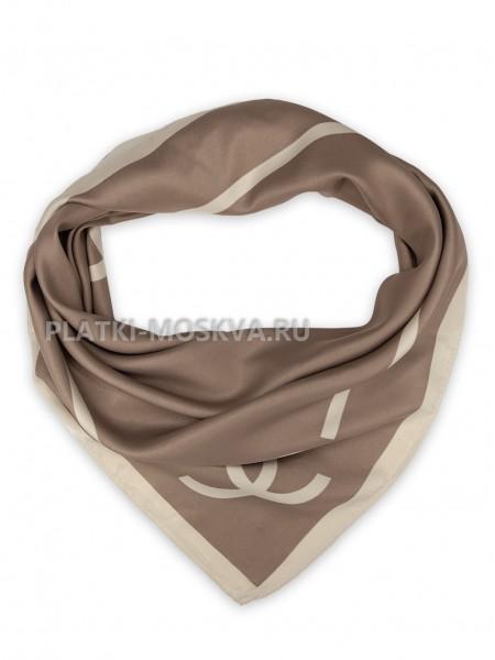 """Платок Chanel шелковый коричневый """"Лого"""" 3682"""