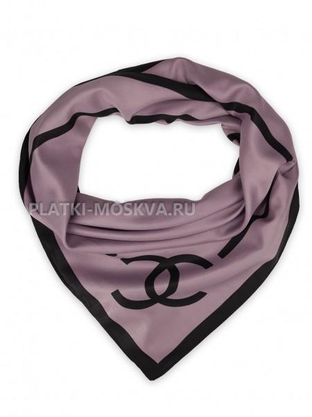 """Платок Chanel шелковый сиреневый """"Лого"""" 3684"""