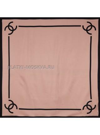 """Платок Chanel шелковый пудровый """"Лого"""" 3685"""