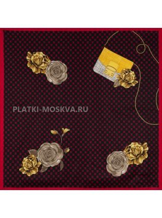 """Платок Chanel шелковый черный с красным """"Цветы"""" 3677"""