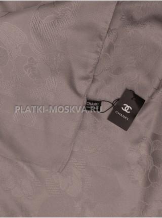 Платок Chanel шелковый серый однотонный 299-8