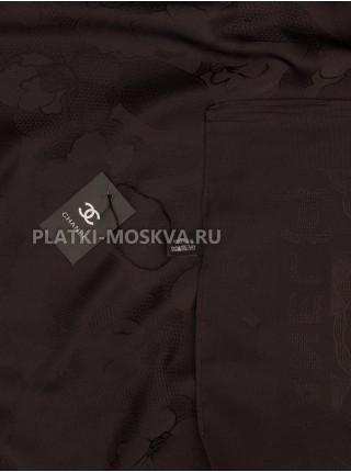 Платок Chanel шелковый темно-коричневый однотонный 299-9