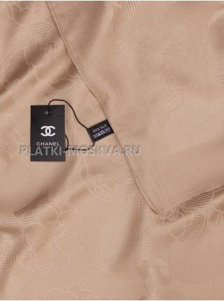 Платок Chanel шелковый бежевый однотонный 299-7