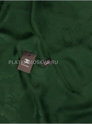 Платок Chanel шелковый зеленый однотонный 299-5