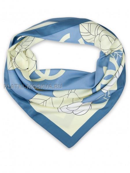 """Платок Chanel шелковый голубой """"Цветы"""" 1454-90"""