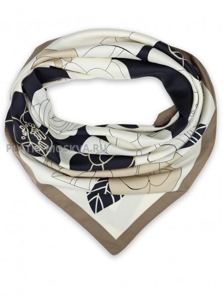 """Платок Chanel шелковый черный с бежевым """"Цветы"""" 1451-90"""