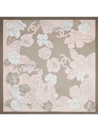 "Платок Chanel шелковый розовый ""Цветы"" 1456-90"