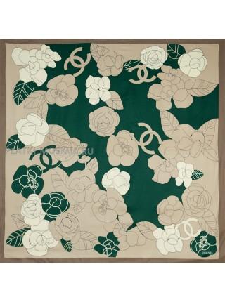 "Платок Chanel шелковый зеленый ""Цветы"" 1450-90"