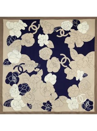 """Платок Chanel шелковый коричневый с темно-синим """"Цветы"""" 1453-90"""