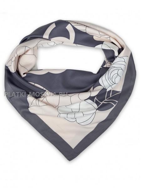 "Платок Chanel шелковый серый с розовым ""Цветы"" 1455-90"