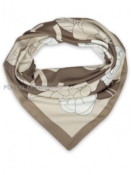 """Платок Chanel шелковый коричневый """"Цветы"""" 1452-90"""