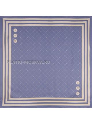 """Платок Chanel шелковый синий """"Полоска"""" 3537"""