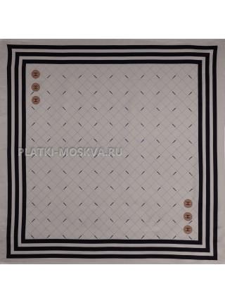 "Платок Chanel шелковый серый ""Полоска"" 3538"
