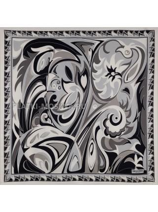 Платок Emilio Pucci шелковый черный с белым 3688