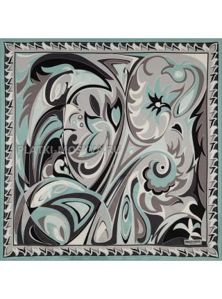 Платок Emilio Pucci шелковый бирюзовый 3690
