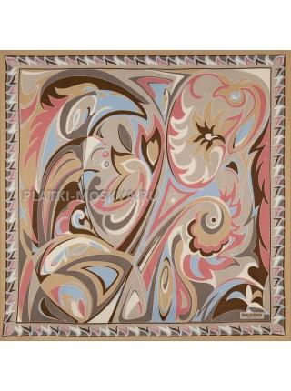 Платок Emilio Pucci шелковый бежевый 3689