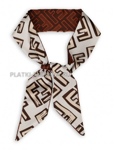 Лента Fendi шелковая белая с коричневым 4201