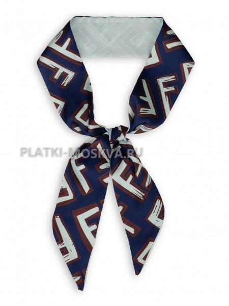 Лента Fendi шелковая синяя с бирюзовым 4202