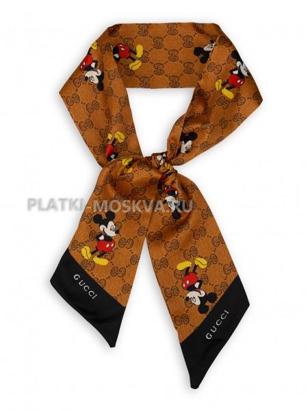 Лента Gucci шелковая коричневая 4211