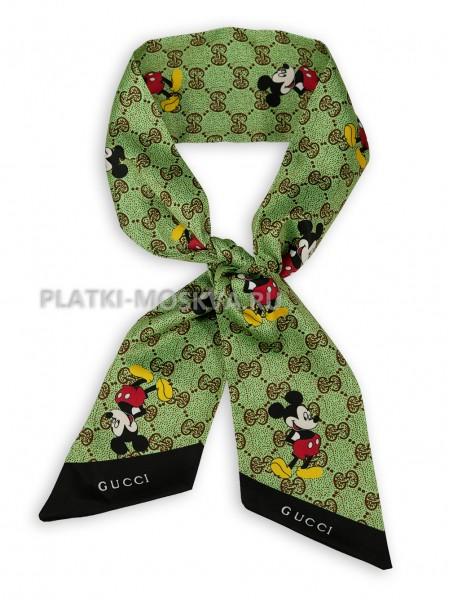 Лента Gucci шелковая зеленая 4212