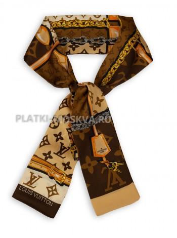 Лента брендовая шелковая коричневая 4215