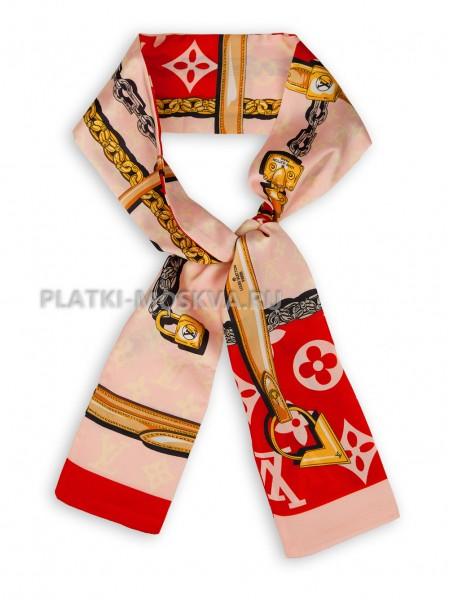 Лента брендовая шелковая розовая с красным 4217