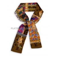 Лента брендовая шелковая коричневая 4221