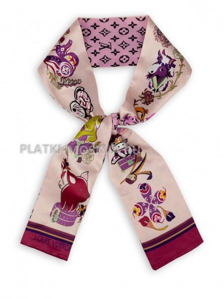 Лента брендовая шелковая розовая 4227
