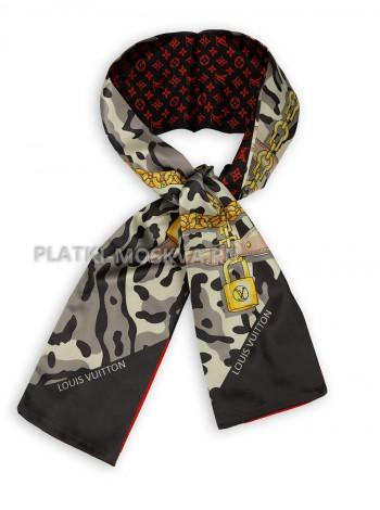 Лента брендовая шелковая серая с красным 4231