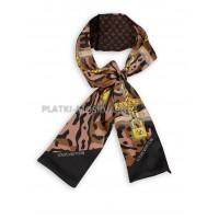 Лента брендовая шелковая коричневая с персиковым 4230