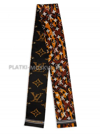 Лента брендовая шелковая коричневая 4228