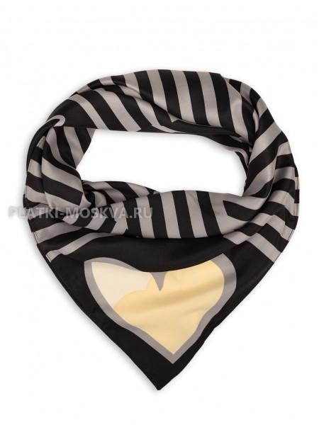 """Платок Moschino шелковый черный с серым """"Love"""" 3554"""