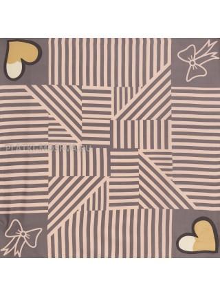 "Платок Moschino шелковый серый с розовым ""Love"" 3557"