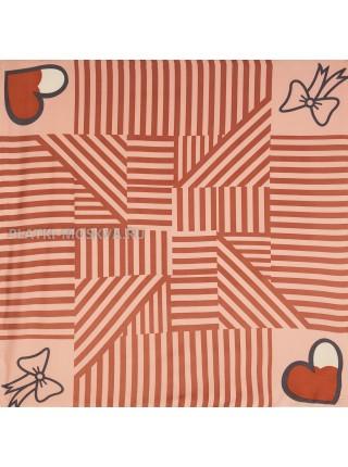 "Платок Moschino шелковый светло-коралловый ""Love"" 3558"