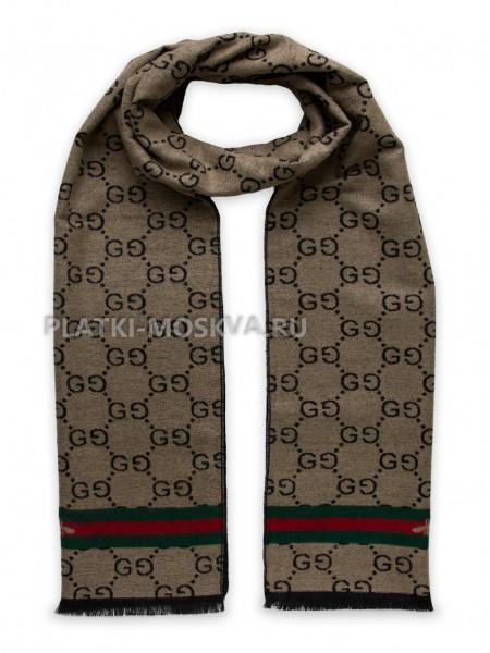 Шарф мужской Gucci кашемировый бежевый с полоской 3456