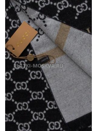 Шарф мужской Gucci кашемировый черный с белым 3412-2