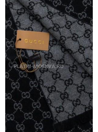 Шарф мужской Gucci кашемировый черный с серым 3409