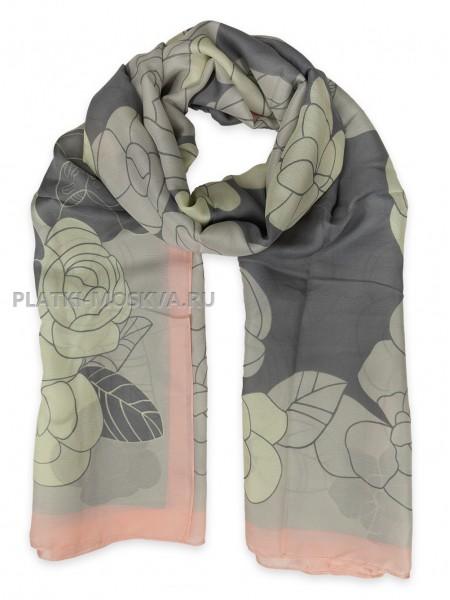 Палантин Chanel шелковый серый с розовым 3613