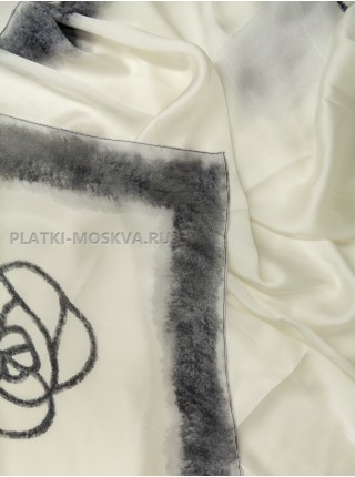 Палантин Dior шелковый белый с серым 3642