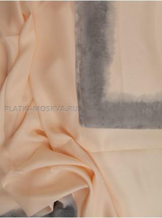 Палантин Dior шелковый розовый с серым 3641