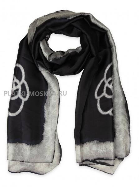 Палантин Dior шелковый черный с серым 3640