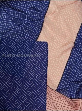 Палантин Fendi шелковый синий с розовым 3645