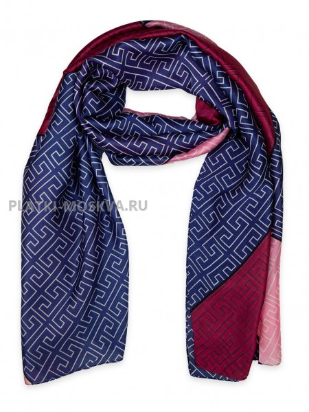 Палантин Fendi шелковый синий с красным 3643