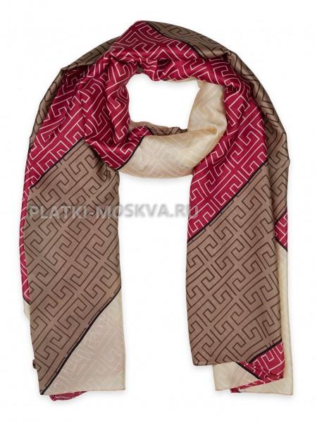 Палантин Fendi шелковый коричневый с красным 3646