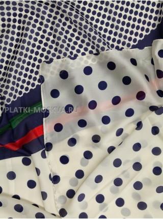 Палантин Gucci шелковый синий с белым 3620