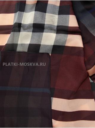 Палантин Gucci шелковый темно-бордовый с розовым 3647