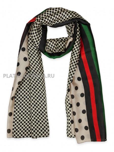 Палантин Gucci шелковый бежевый с черным 3622