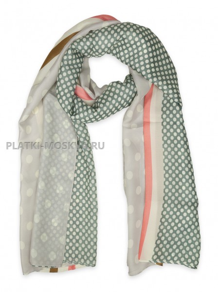 Палантин Gucci шелковый серый 3621