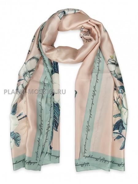 Палантин Gucci шелковый розовый 3619